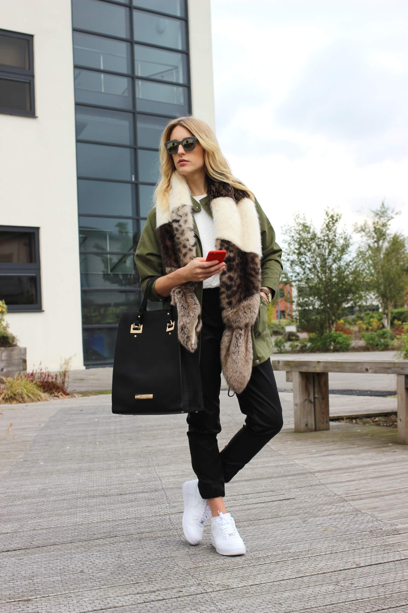 Layering Faux Fur, Khaki, Leather Joggers & Air Force 1 Lo