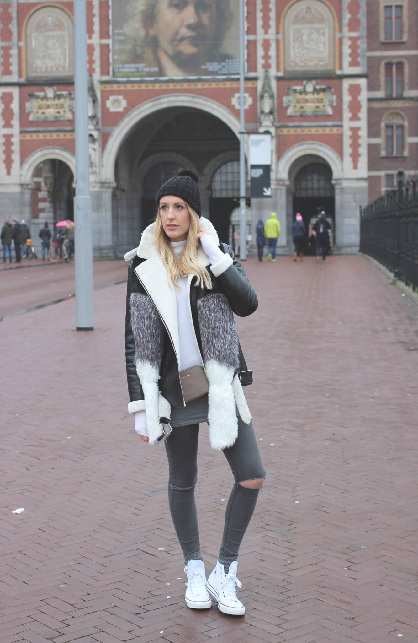 Styling a shearling coat in Amsterdam