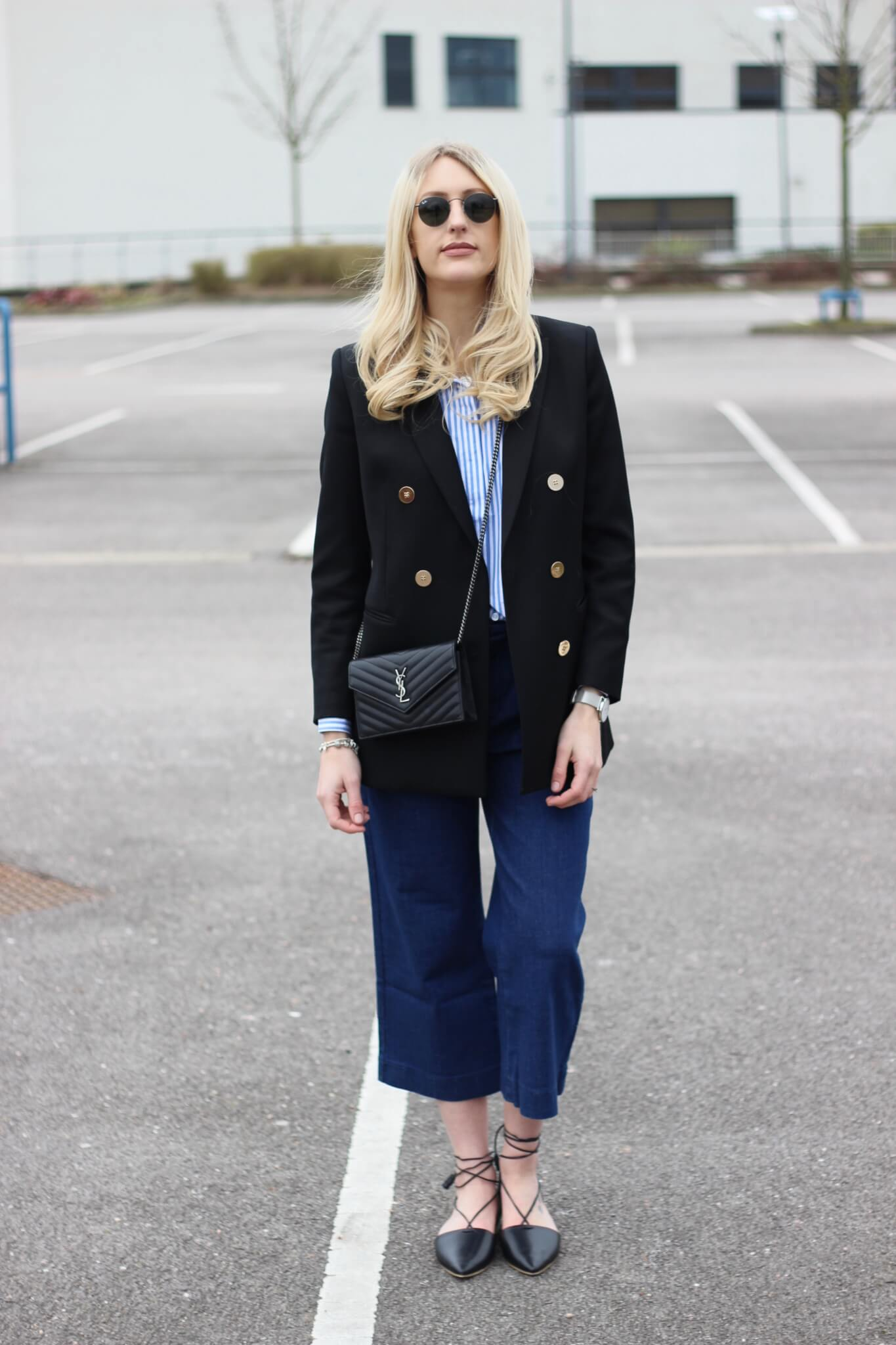 Fashion Blog Street Style Wearing Blazer And Denim Culottes