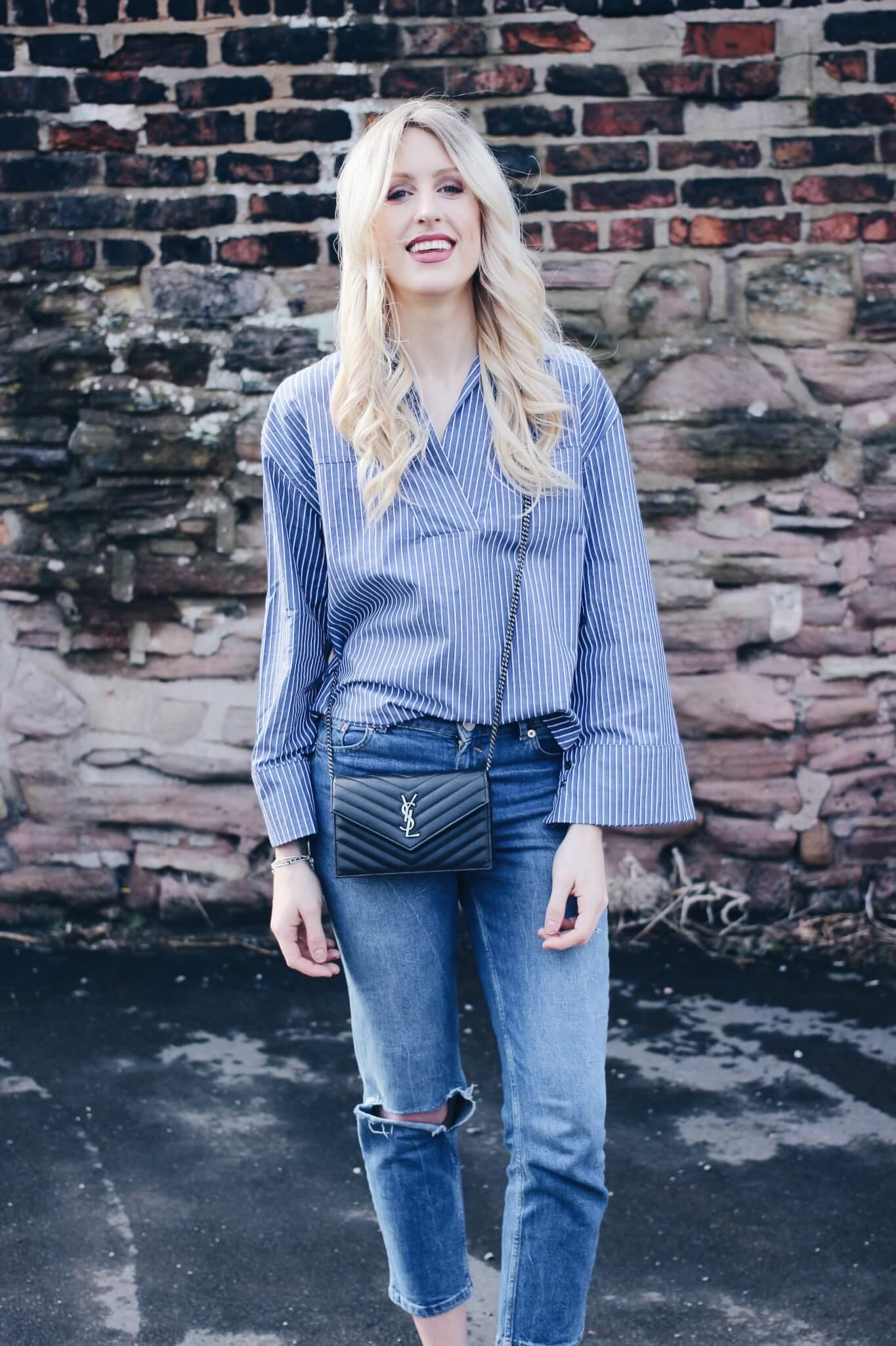 striped flared sleeve shirt on fashion blog