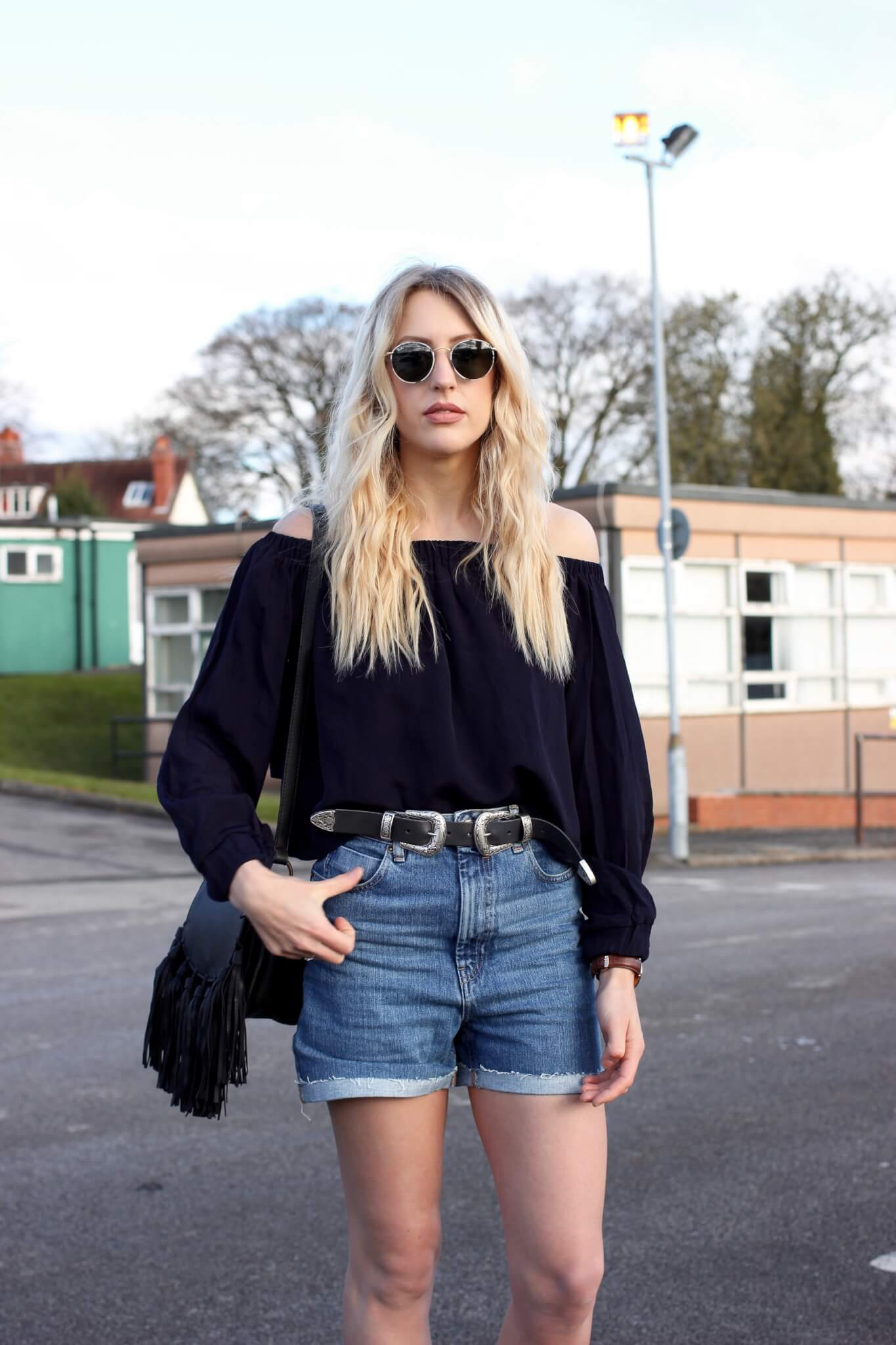 Off The Shoulder Top Revolve Clothing Asos Denim Shorts And Belt Rayban Round On