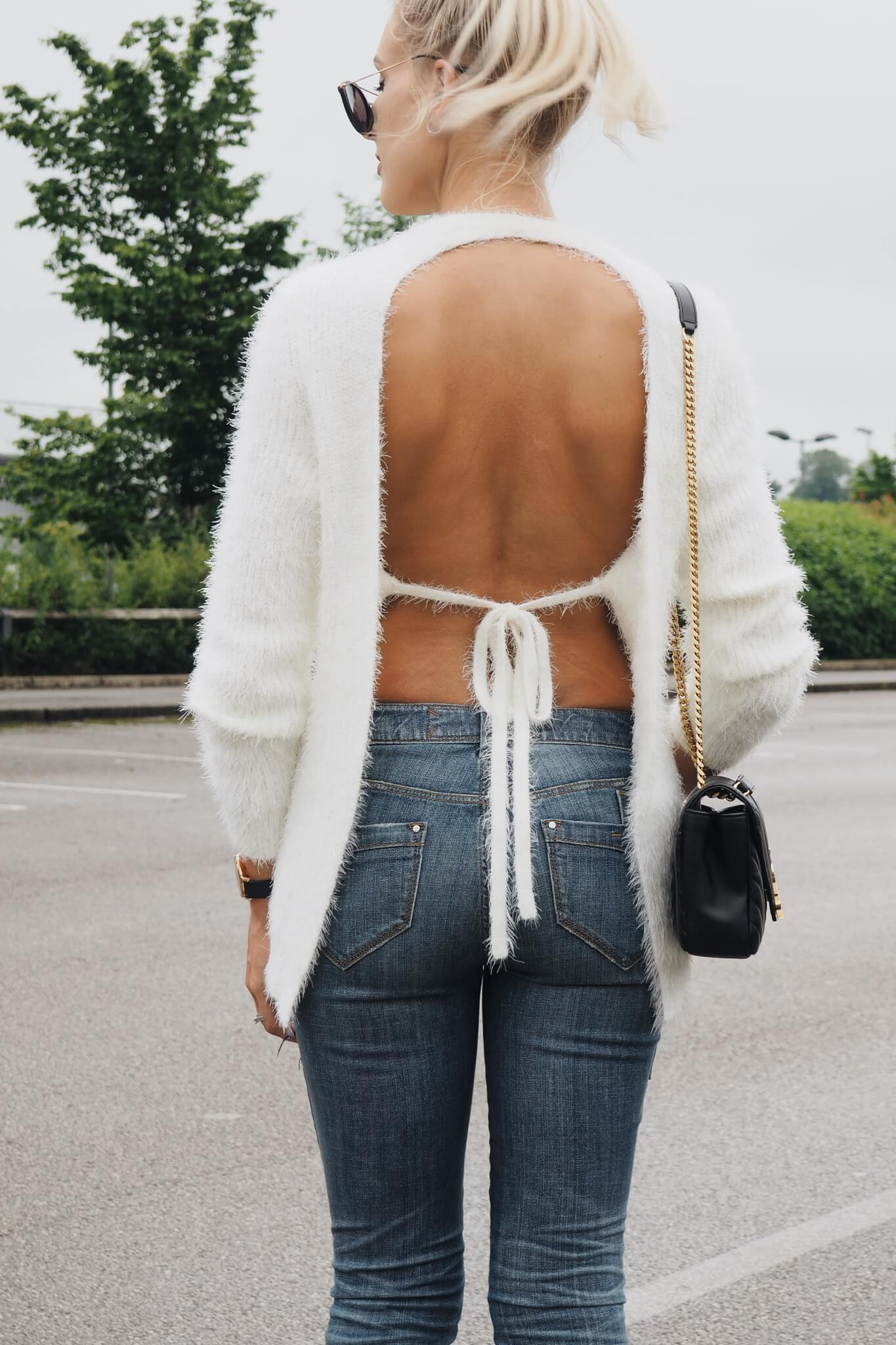Backless Sweater from REVOLVE on fashion blog Lurchhoundloves