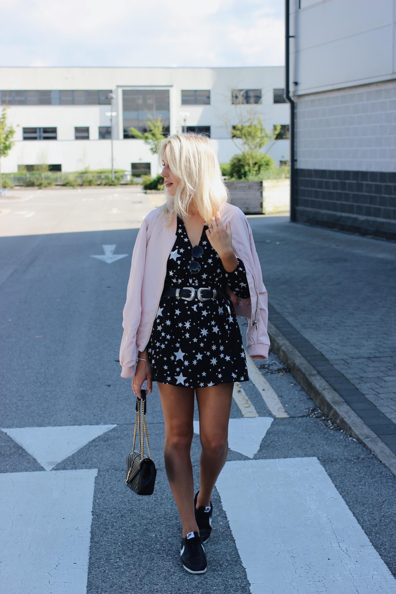 Star Print Dress and Pink Bomber Jacket on fashion blogger Lurchhoundloves