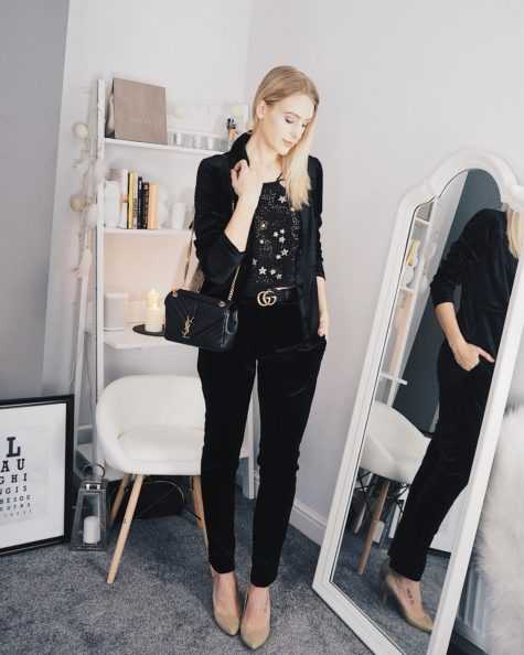 Velvet suit, Topshop star cami top, Saint Laurent Monogramme Bag and Gucci GG Belt party outfit on fashion blogger