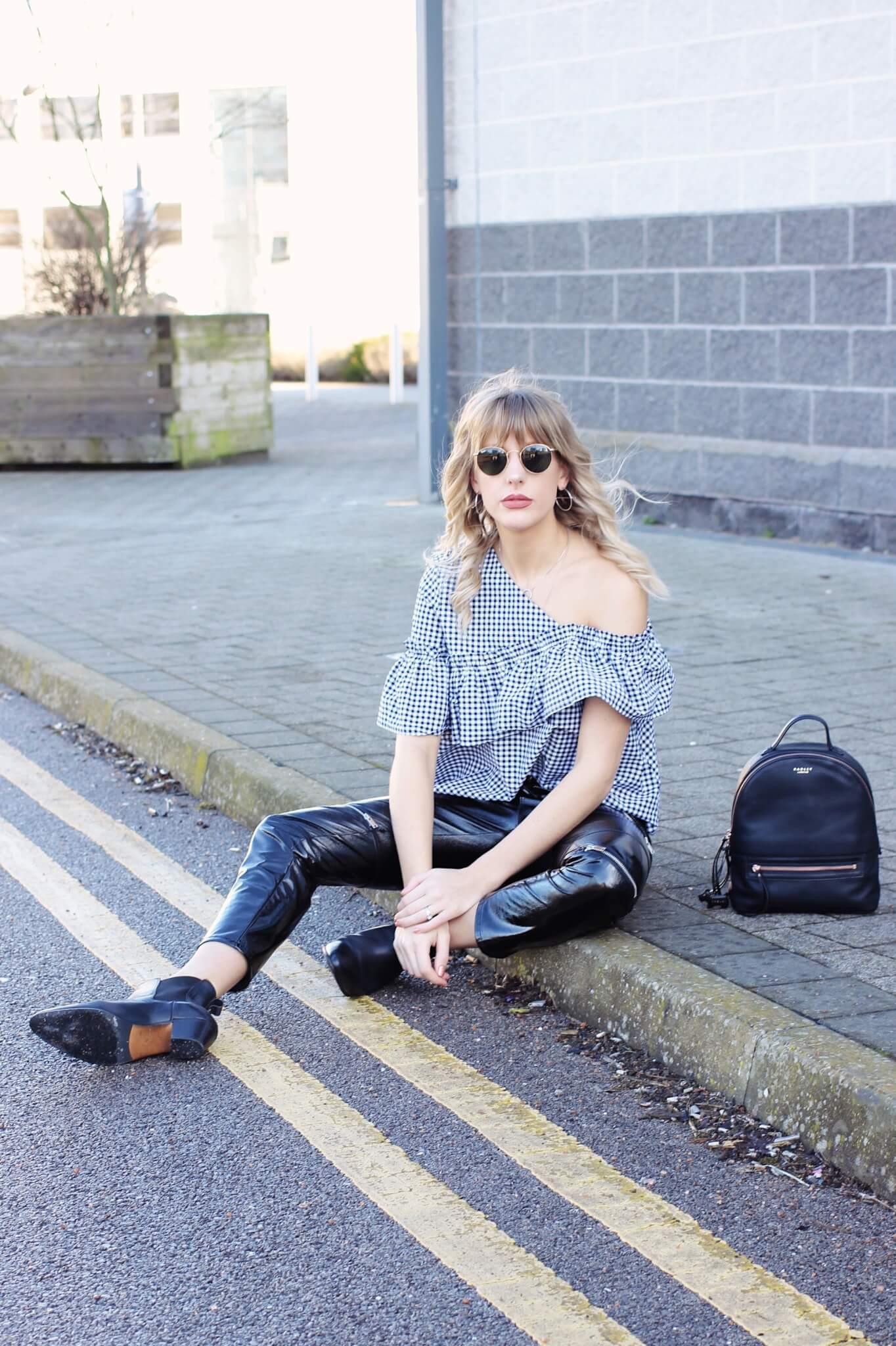 Topshop Gingham Off shoulder top on UK high street fashion blogger Charlotte Buttrick