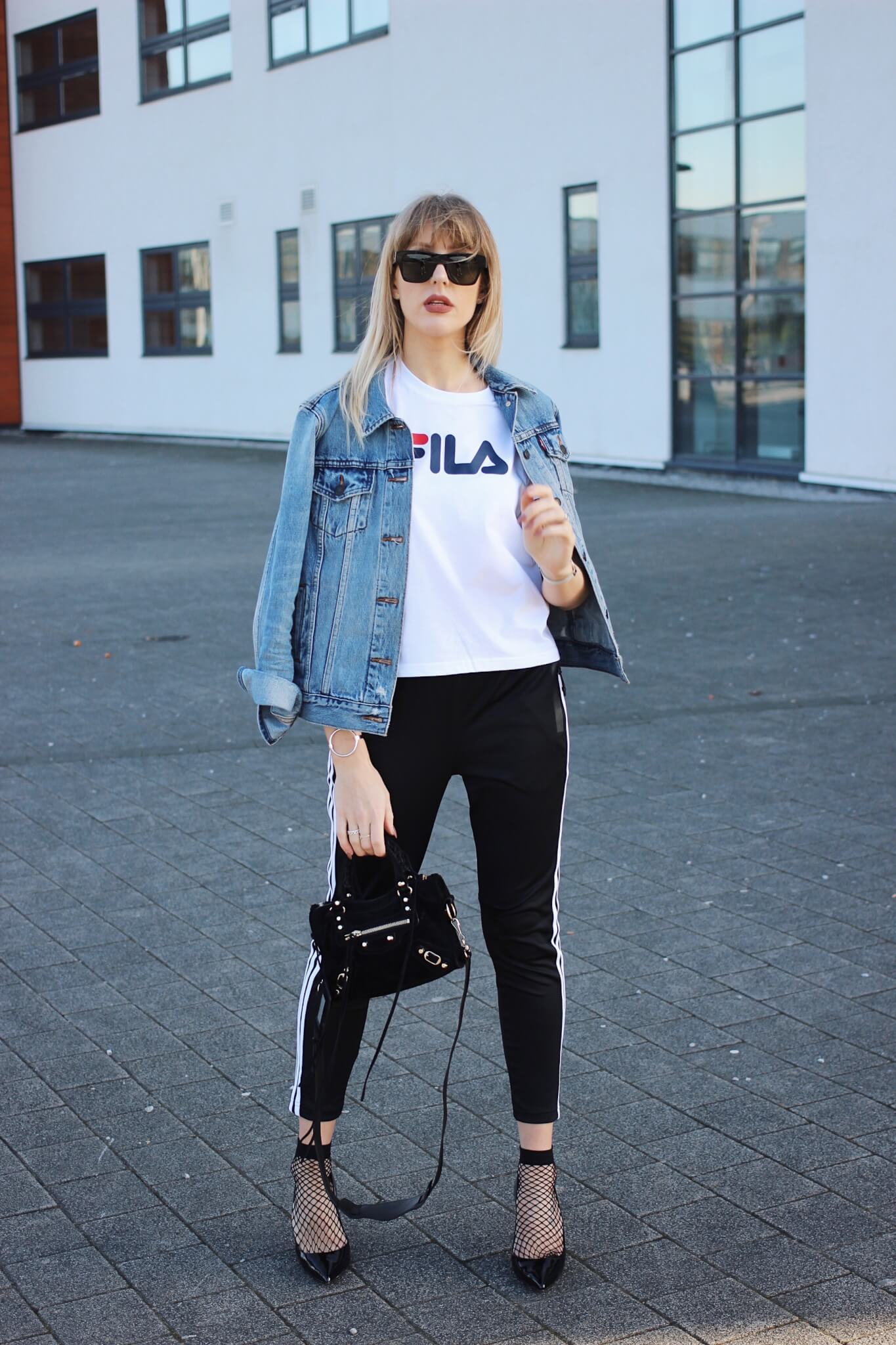 joggers and logo tee street style