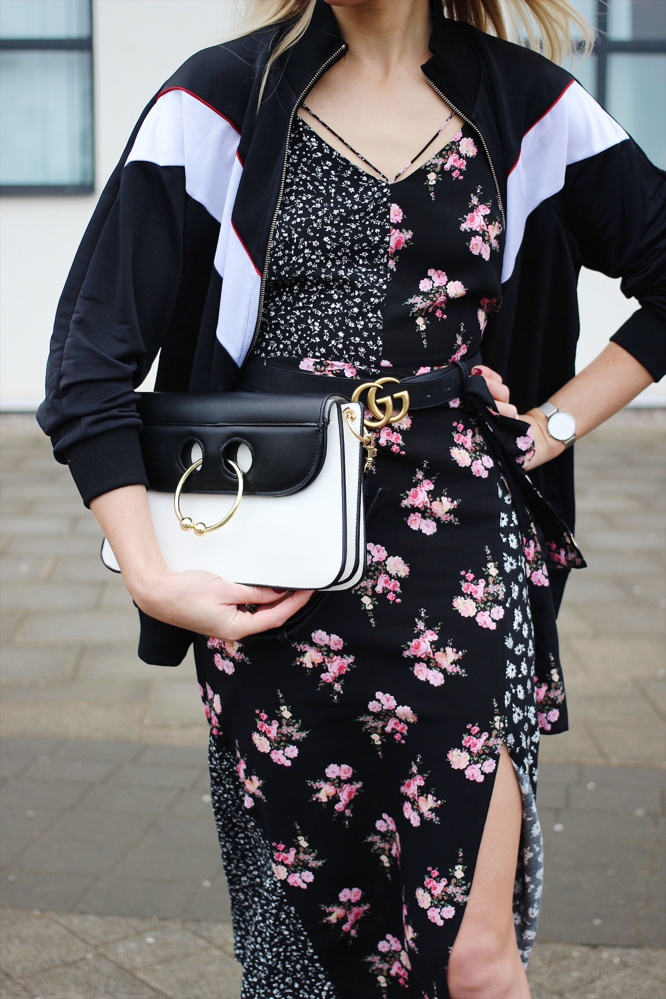 Topshop Floral Dress, Pull and Bear Tracksuit Top and J W Anderson Lookalike handbag