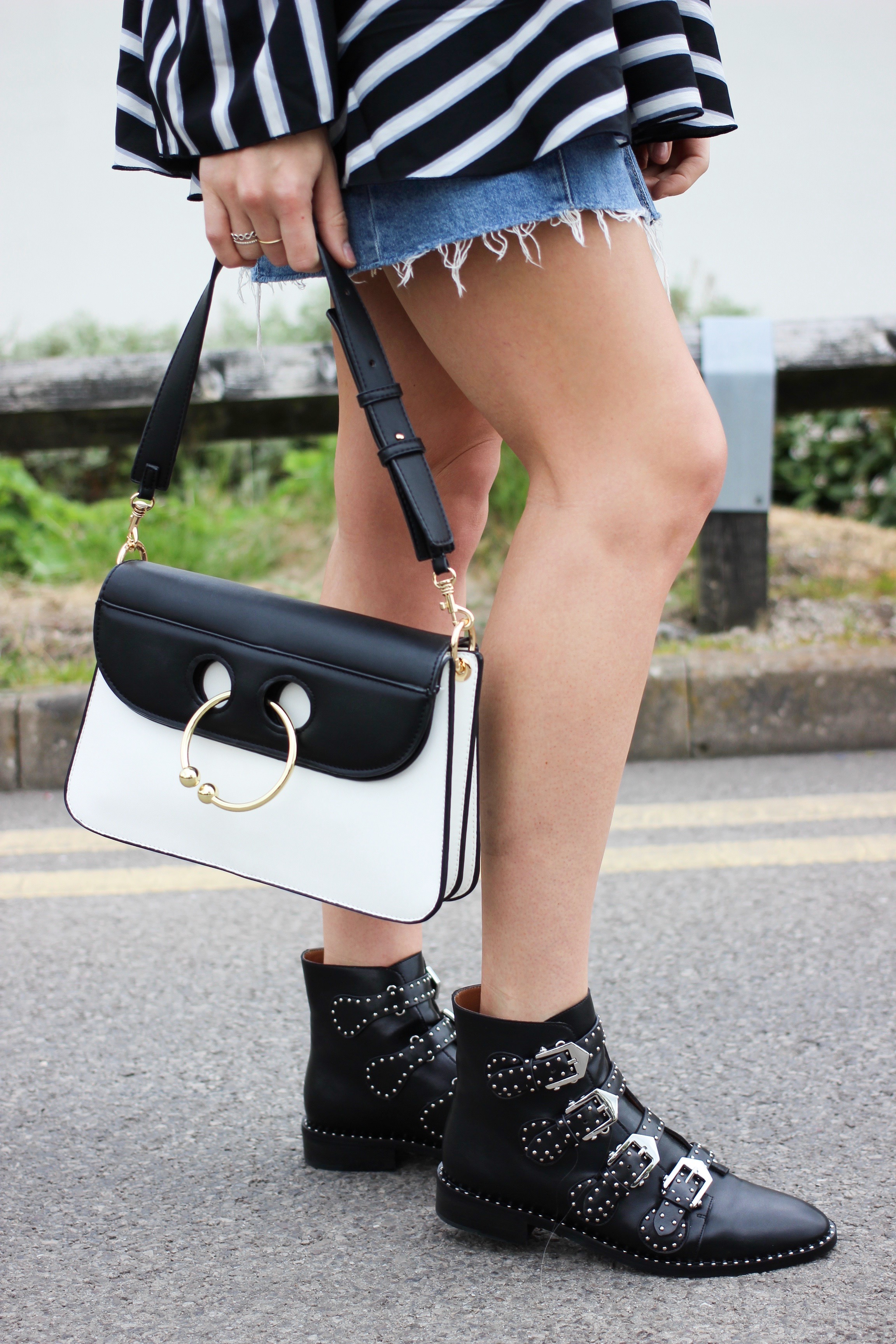 Givenchy Studded Buckle Boot Dupes and J W Anderson Pierce Bag Medium Dupe Street Style Outfit Inspiration