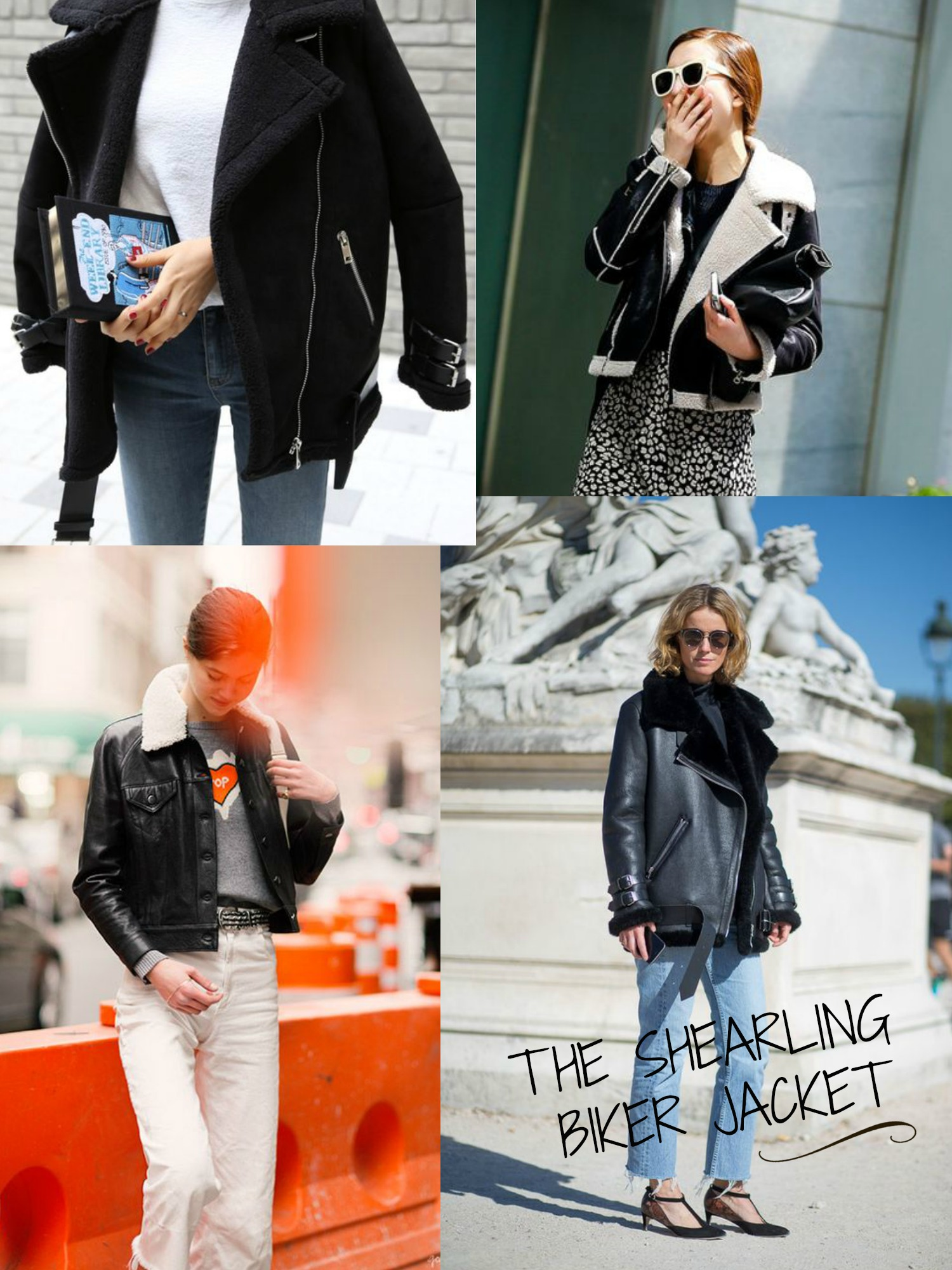 how to style the shearling biker jacket for spring