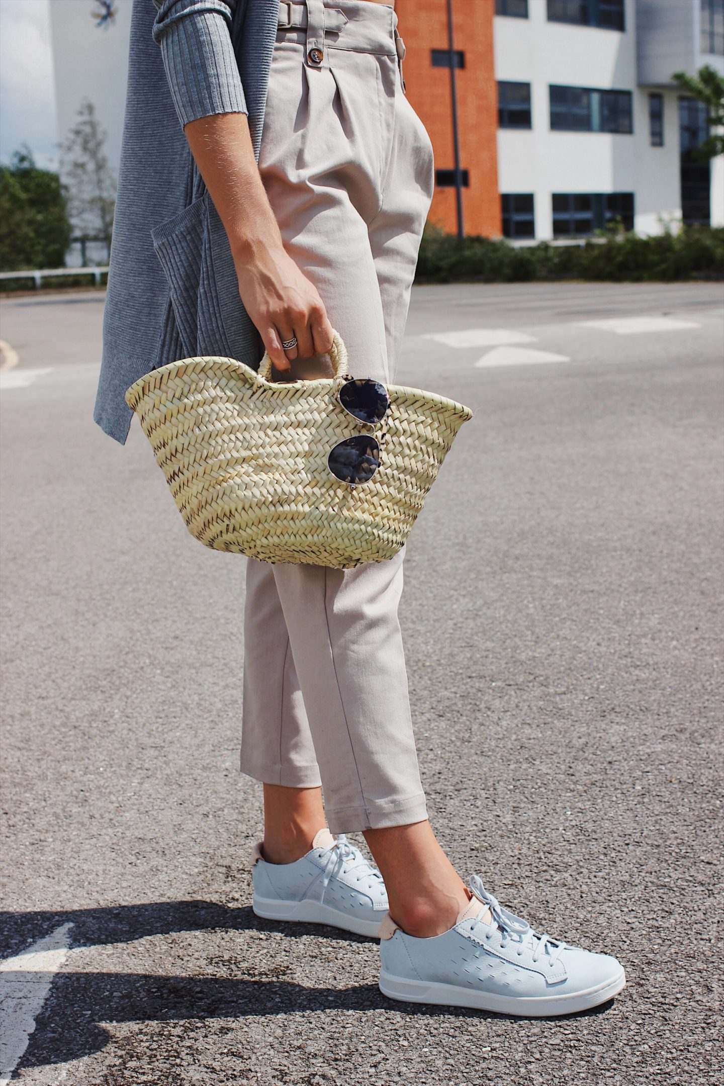affordable basket bag and grey suede trainers