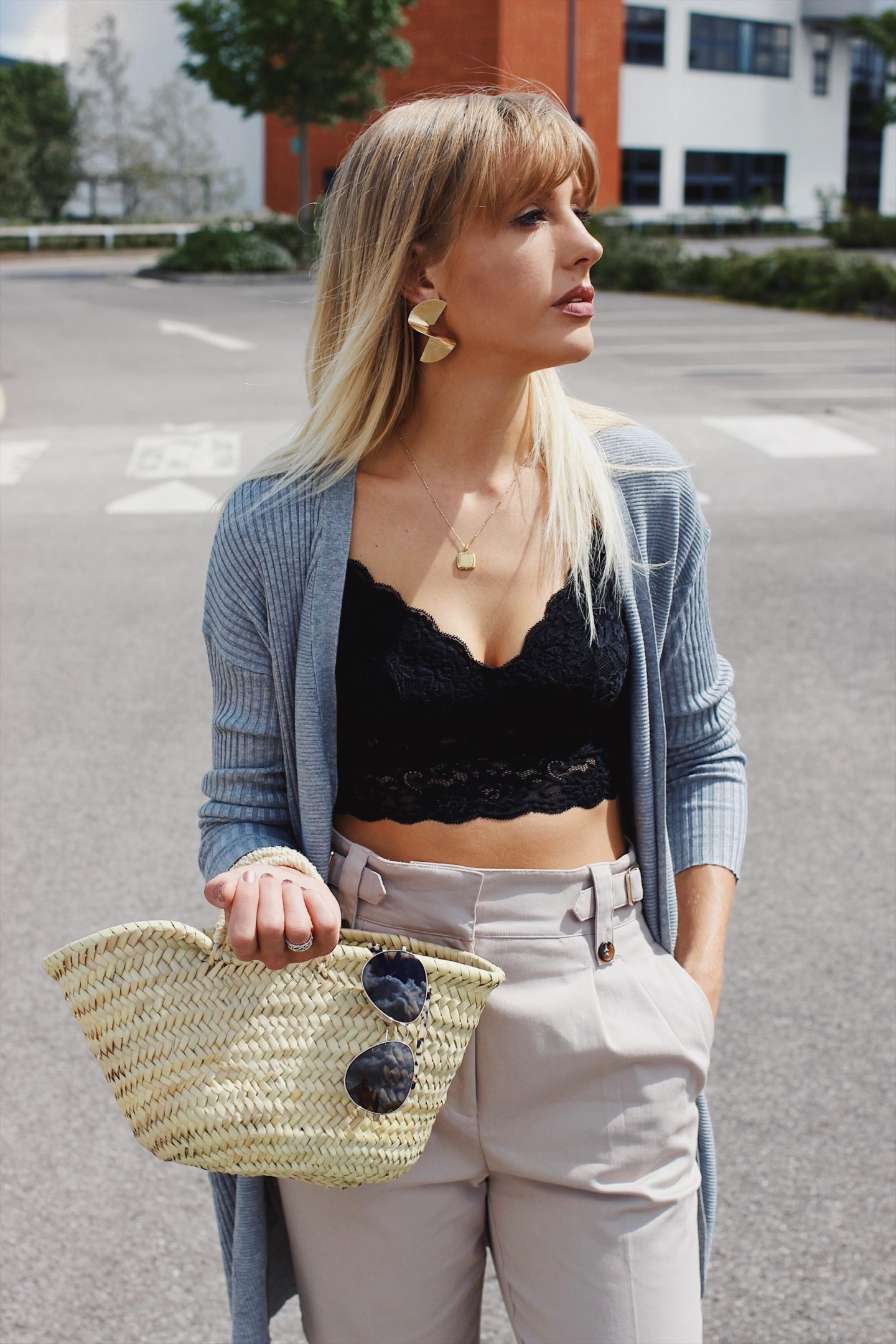 basket bag and crop top with gold swirl earrings on high street style blog Lurchhoundloves