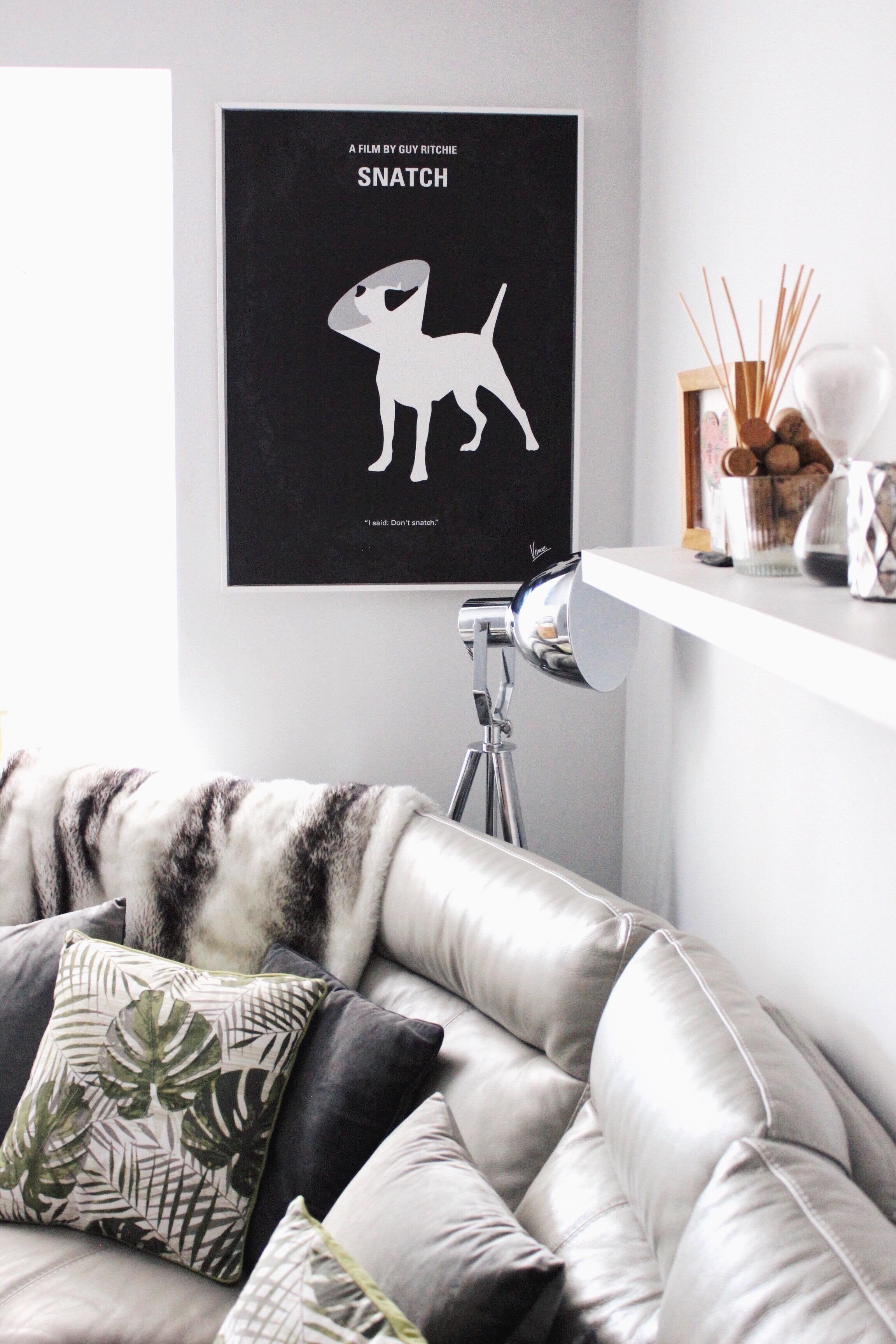 Home inspiration poster prints leaf print cushions and grey leather corner sofa