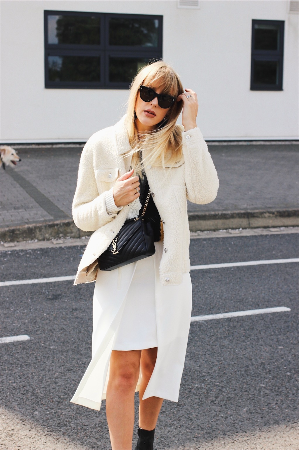 River Island shearling jacket and white midi skirt