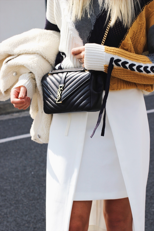 Saint Laurent monogramme handbag street style
