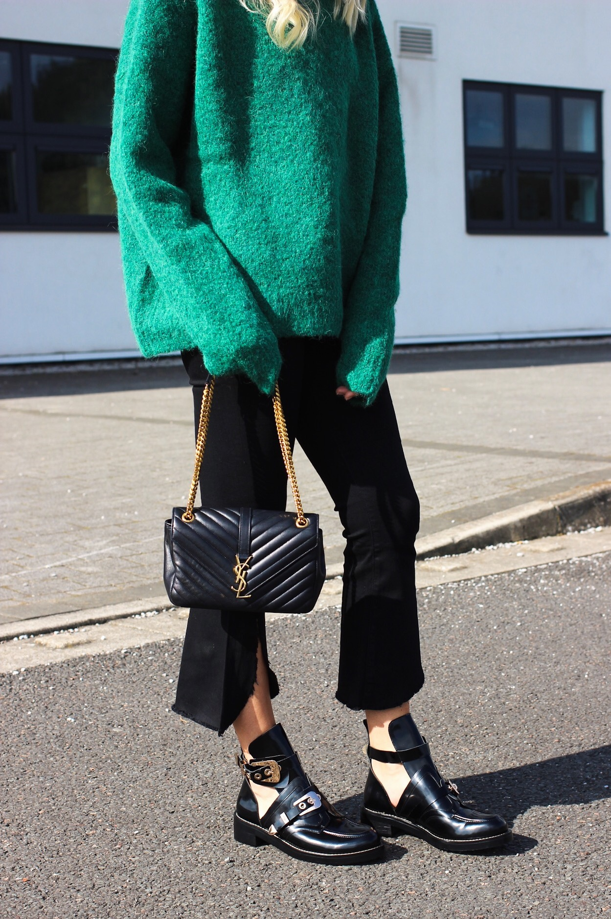 Balenciaga dupe boots street style with YSL bag and H&M Green Premium jumper