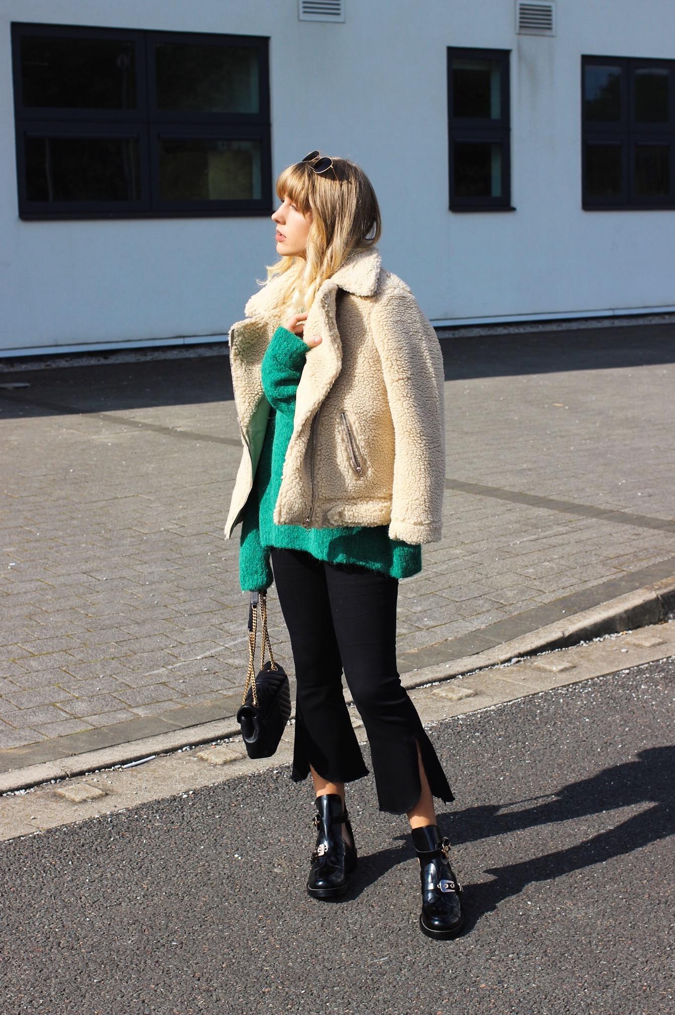H&M Teddy bear shearling biker jacket worn on high street fashion blogger