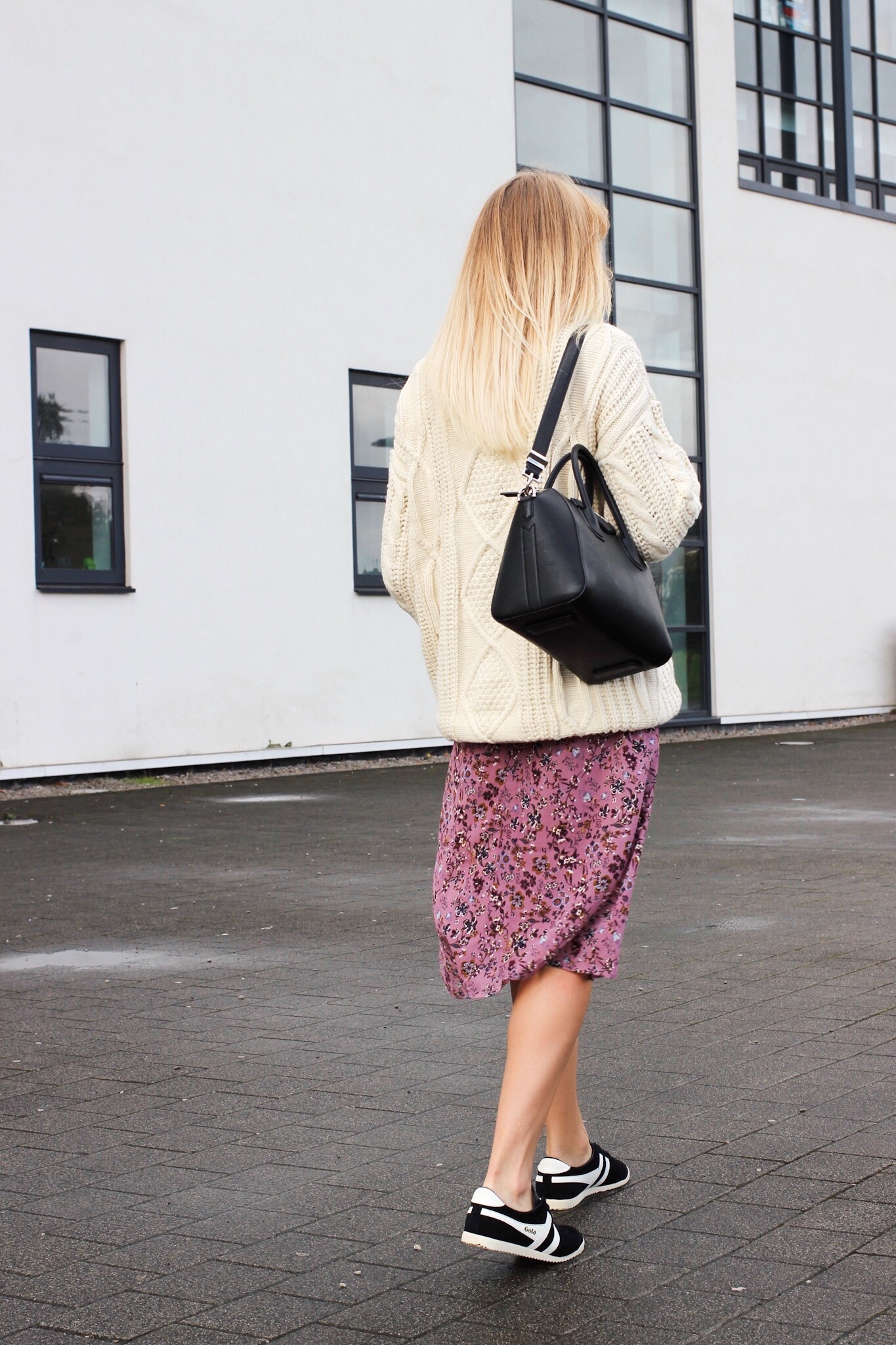 how to wear trainers with a midi dress