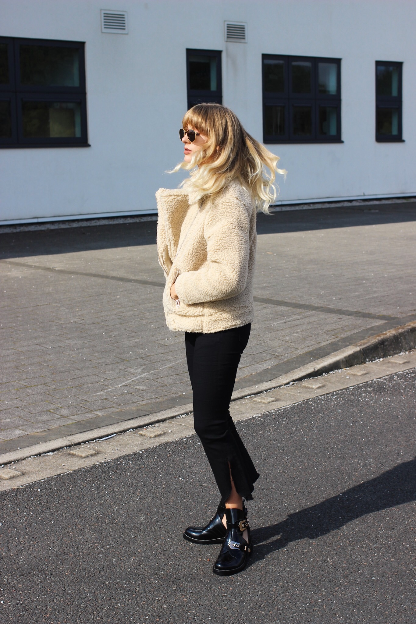 shearling teddy coats for autumn winter from H&M street style