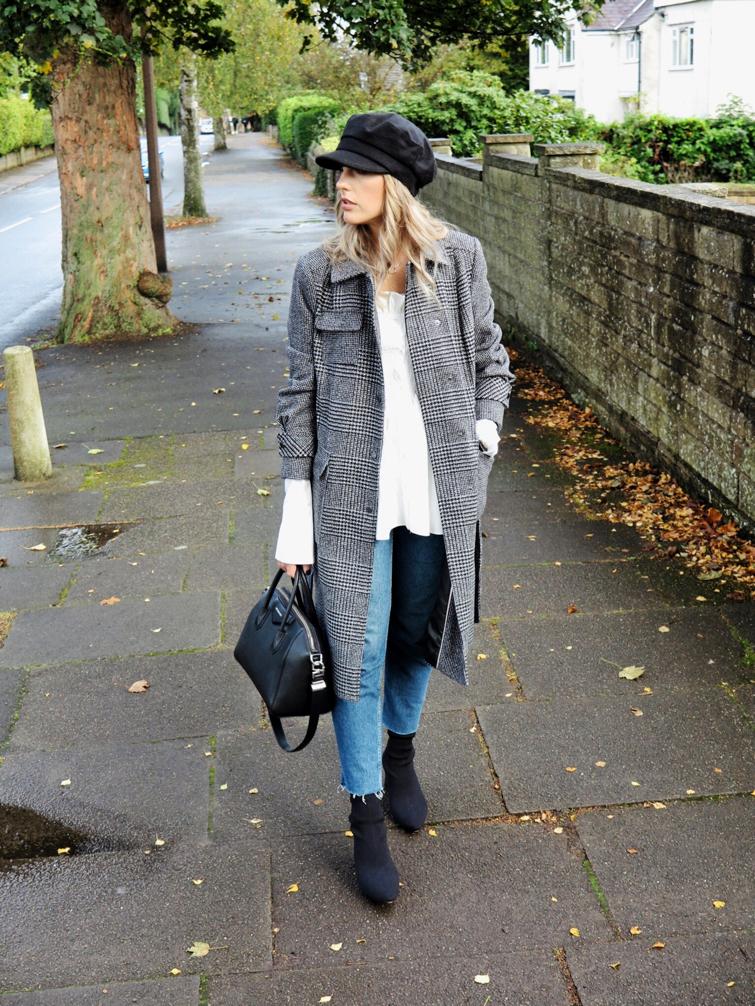 Check coat streetstyle for autumn with Topshop straight leg jeans