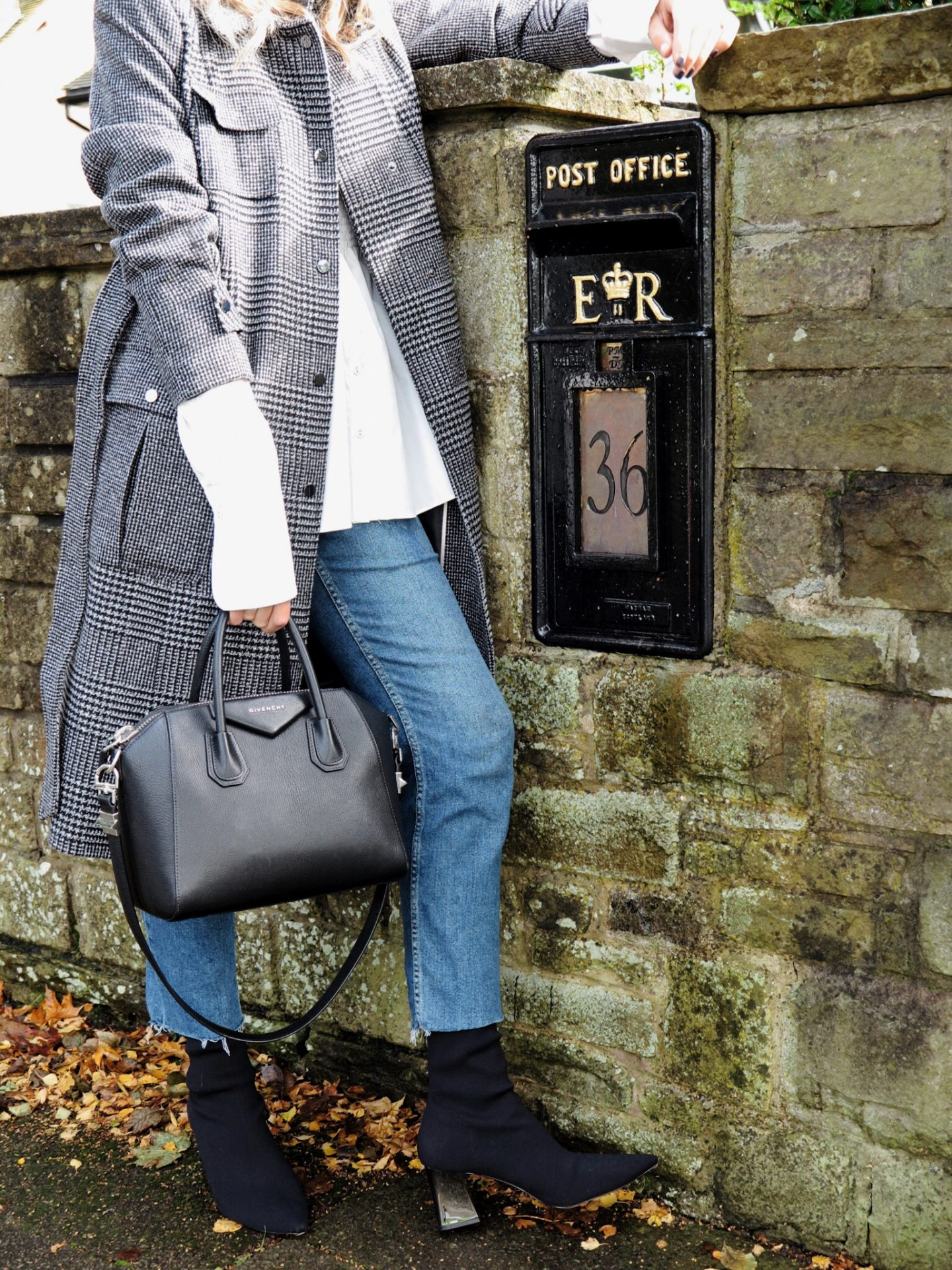 Givenchy Antigona streetstyle and Zara sock boots