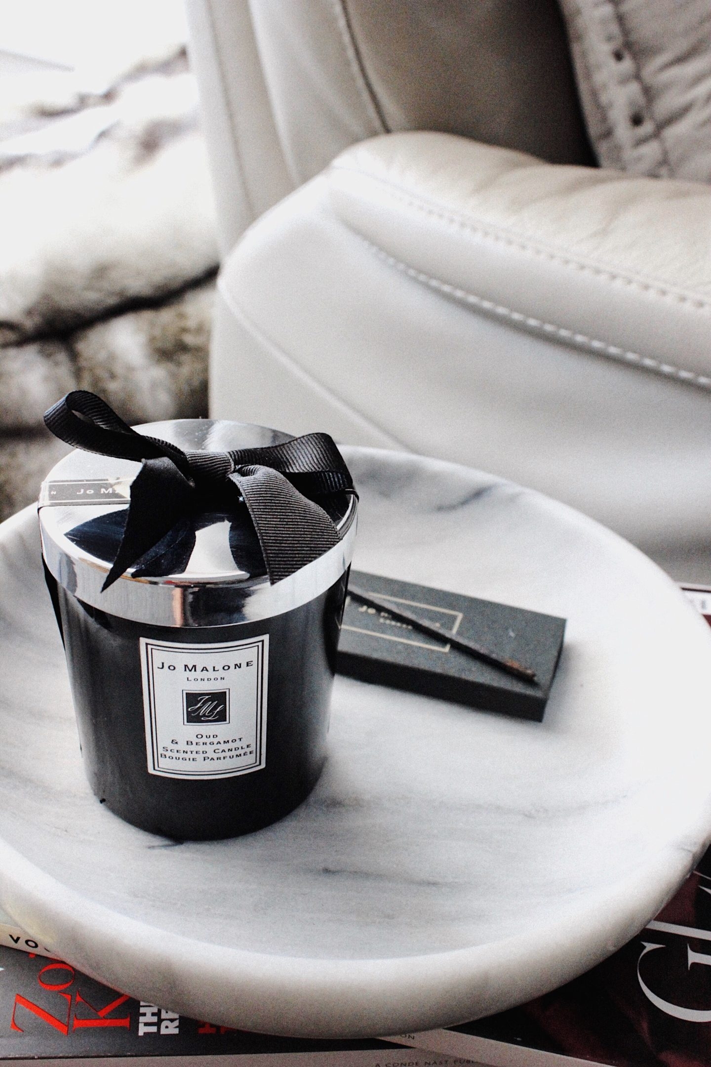 Jo Malone Out and Bergamot Candle on Marble Bowl