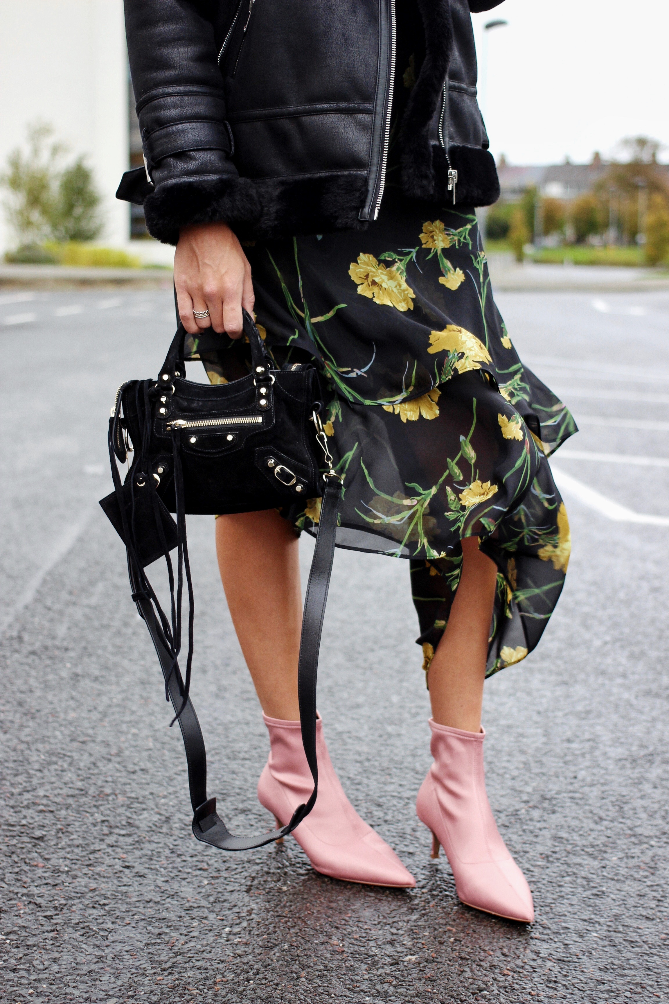 Next pink sock ankle boots and Balenciaga mini city bag