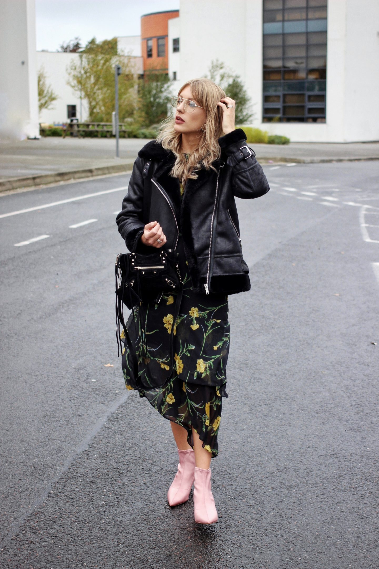 Warehouse floral dress and shearling jacket on Charlotte Buttrick Style Blogger