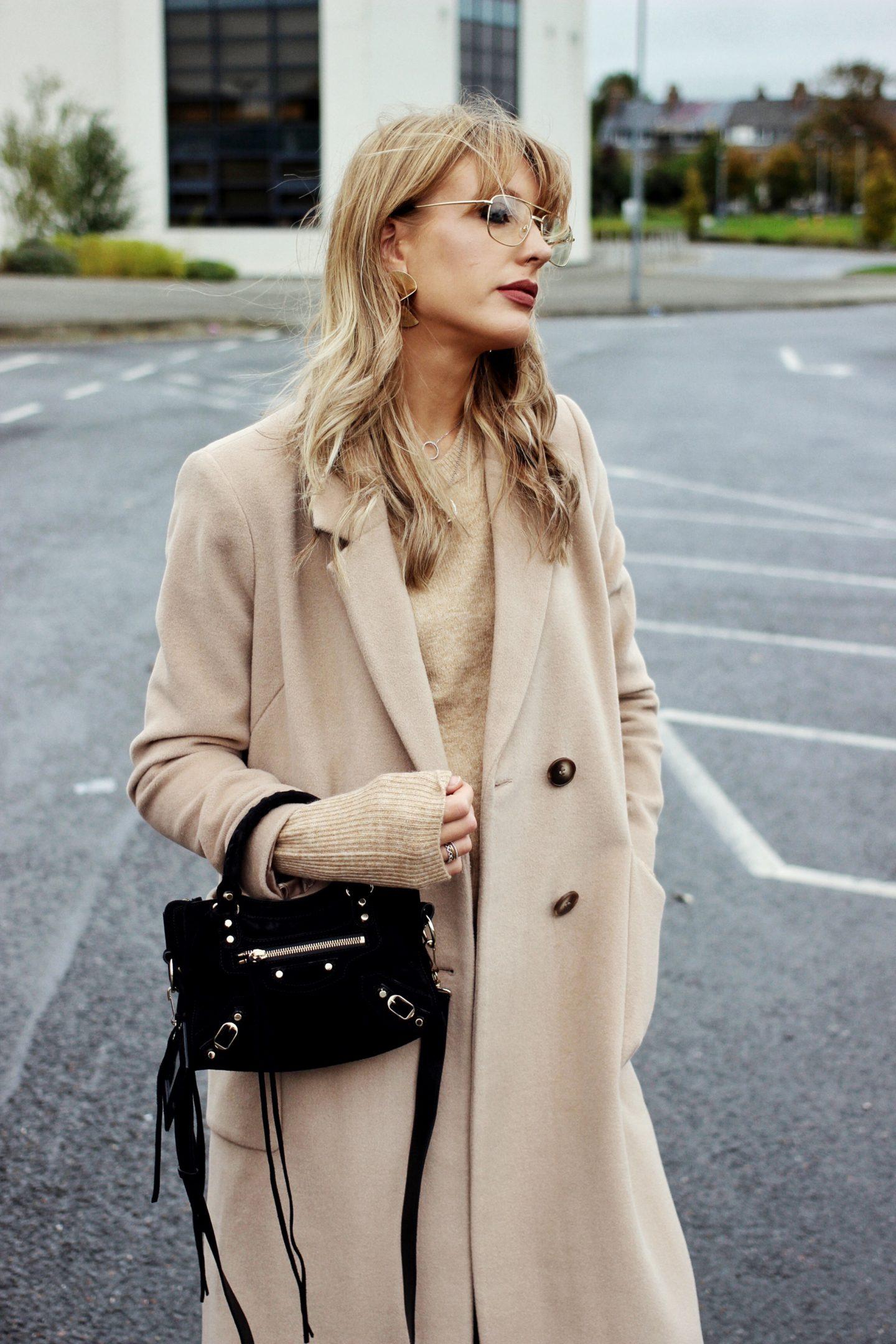 Warehouse silk mix camel coat on Charlotte Buttrick fashion blogger