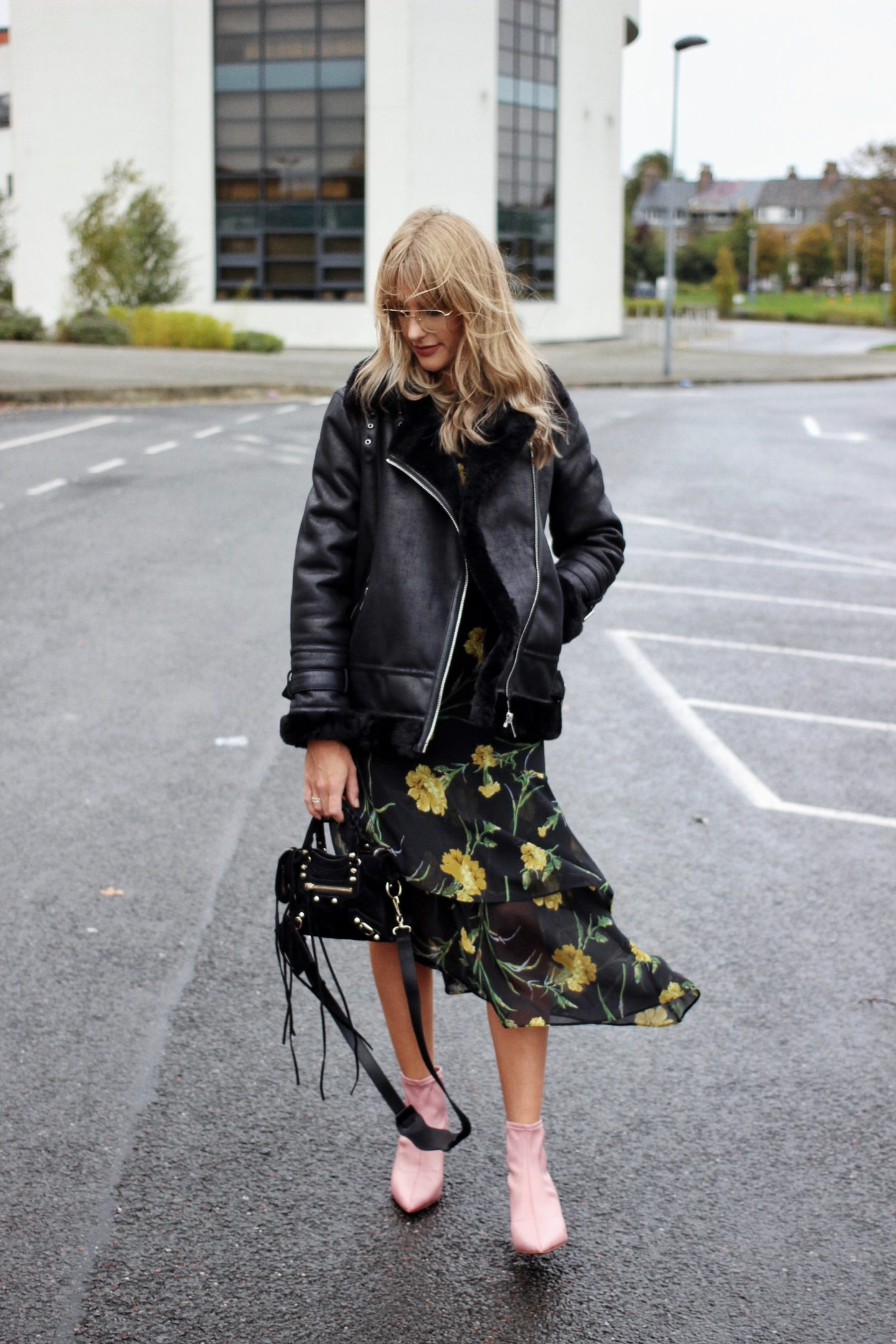 how to wear a shearling jacket, winter florals and pink boots street style
