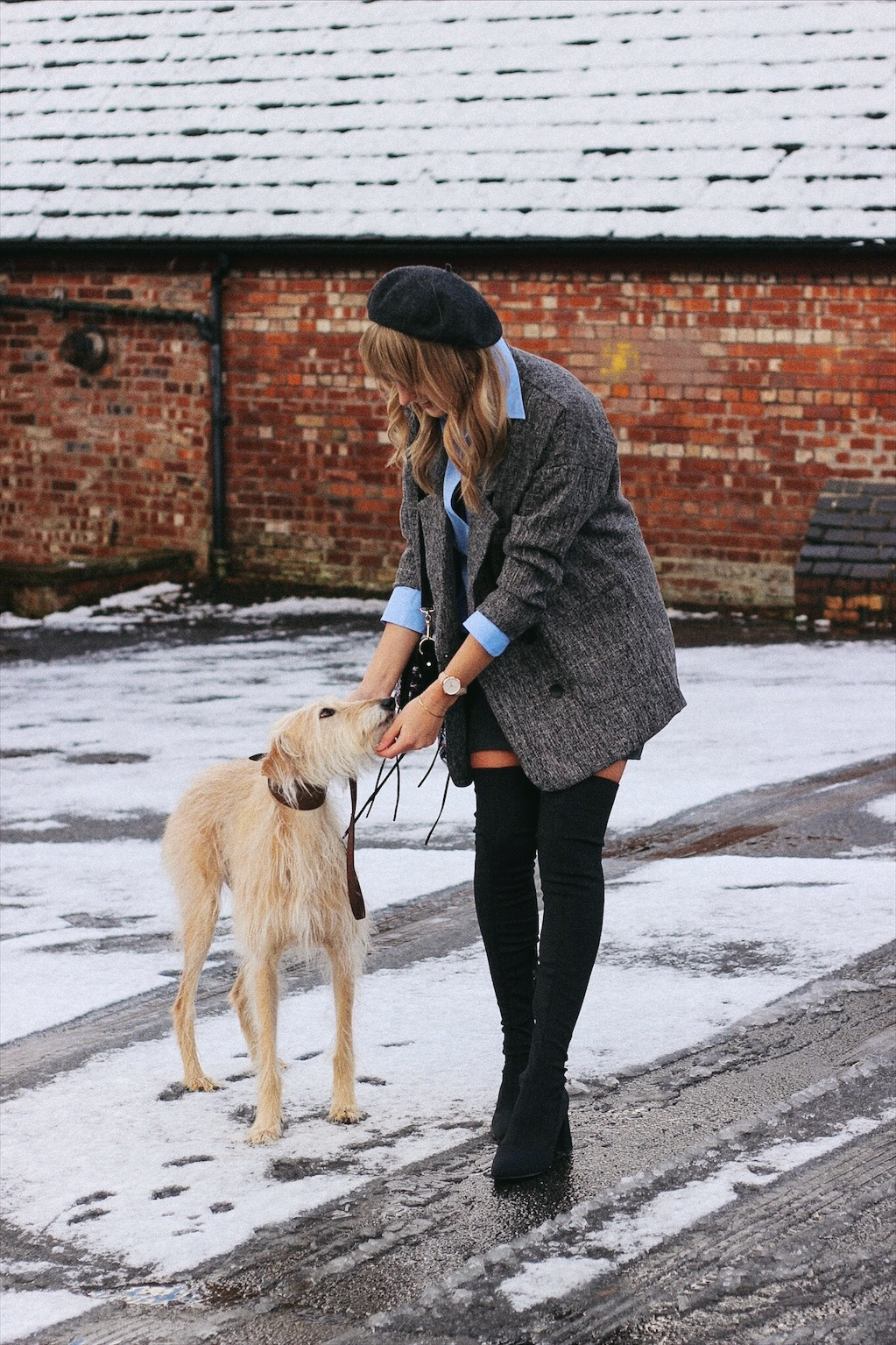 Fashion blogger Charlotte Buttrick and her lurcher Brody