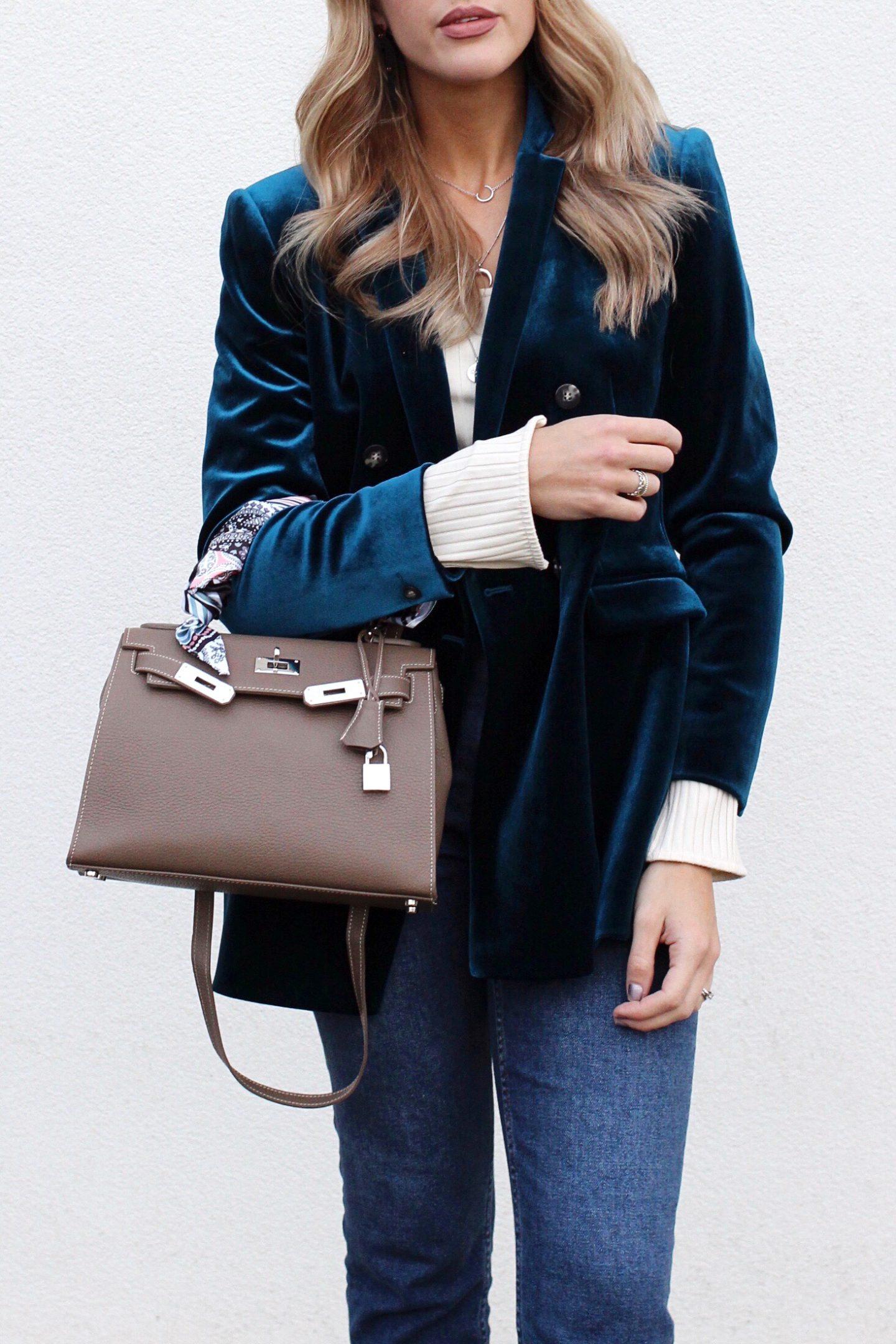 Blue velvet blazer from Topshop ways to wear