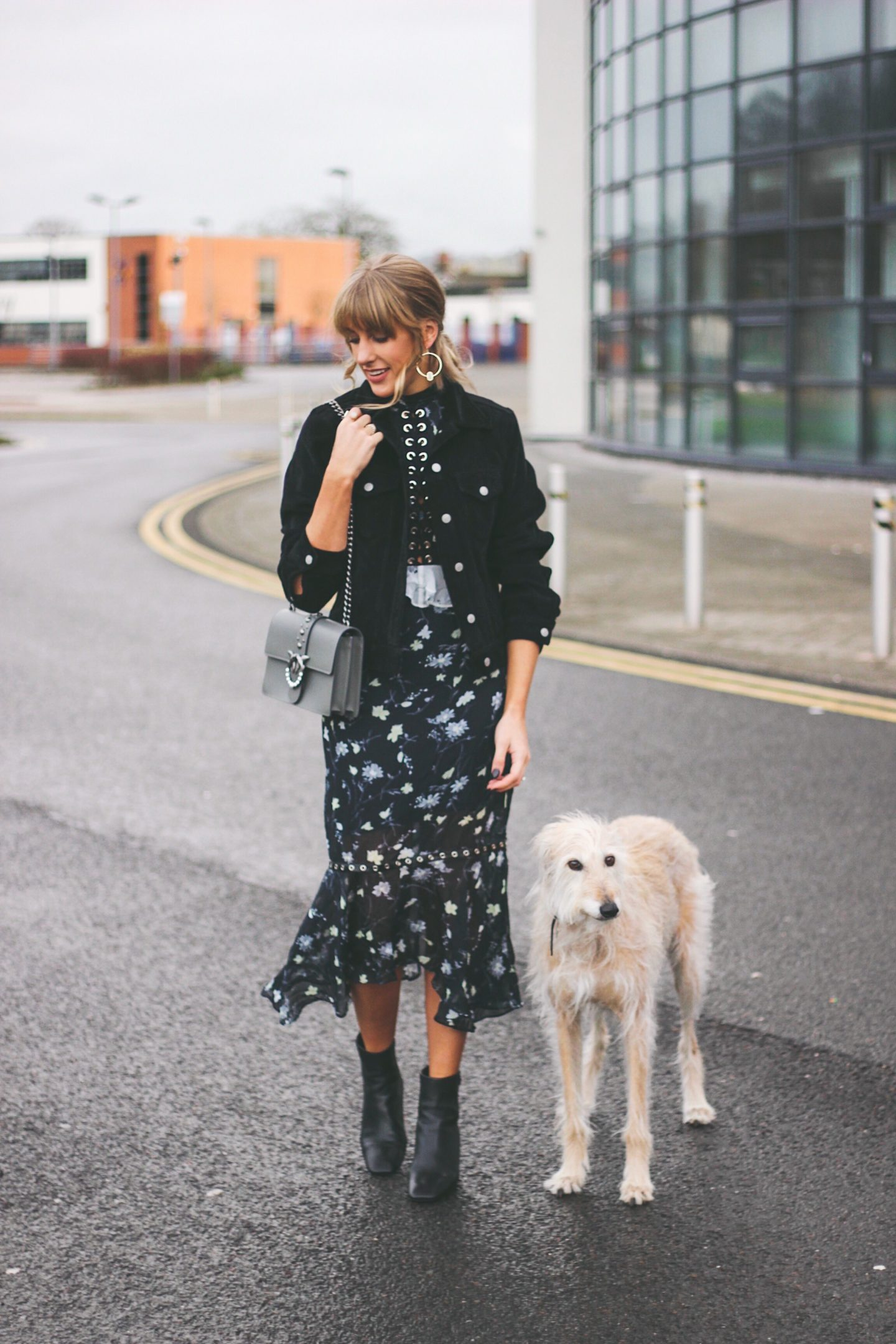 Charlotte Buttrick UK Style Blogger and her Lurcher