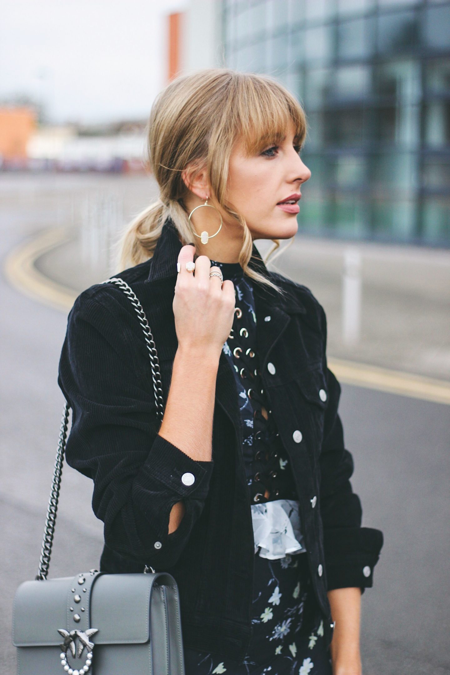 Cord jacket and Pinko love bag street style