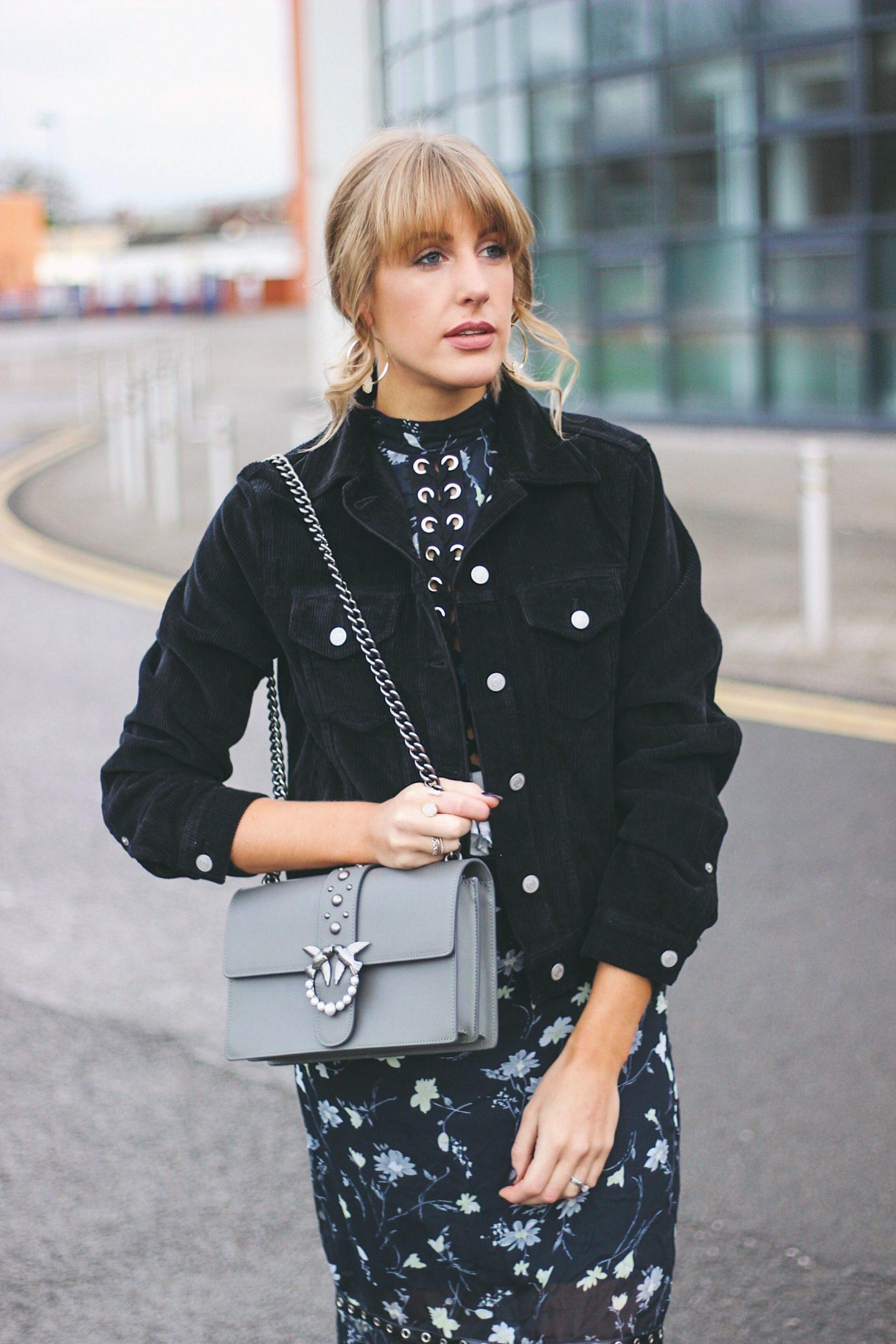 Fashion blogger with Pinko Love Bag in Grey Lurchhoundloves