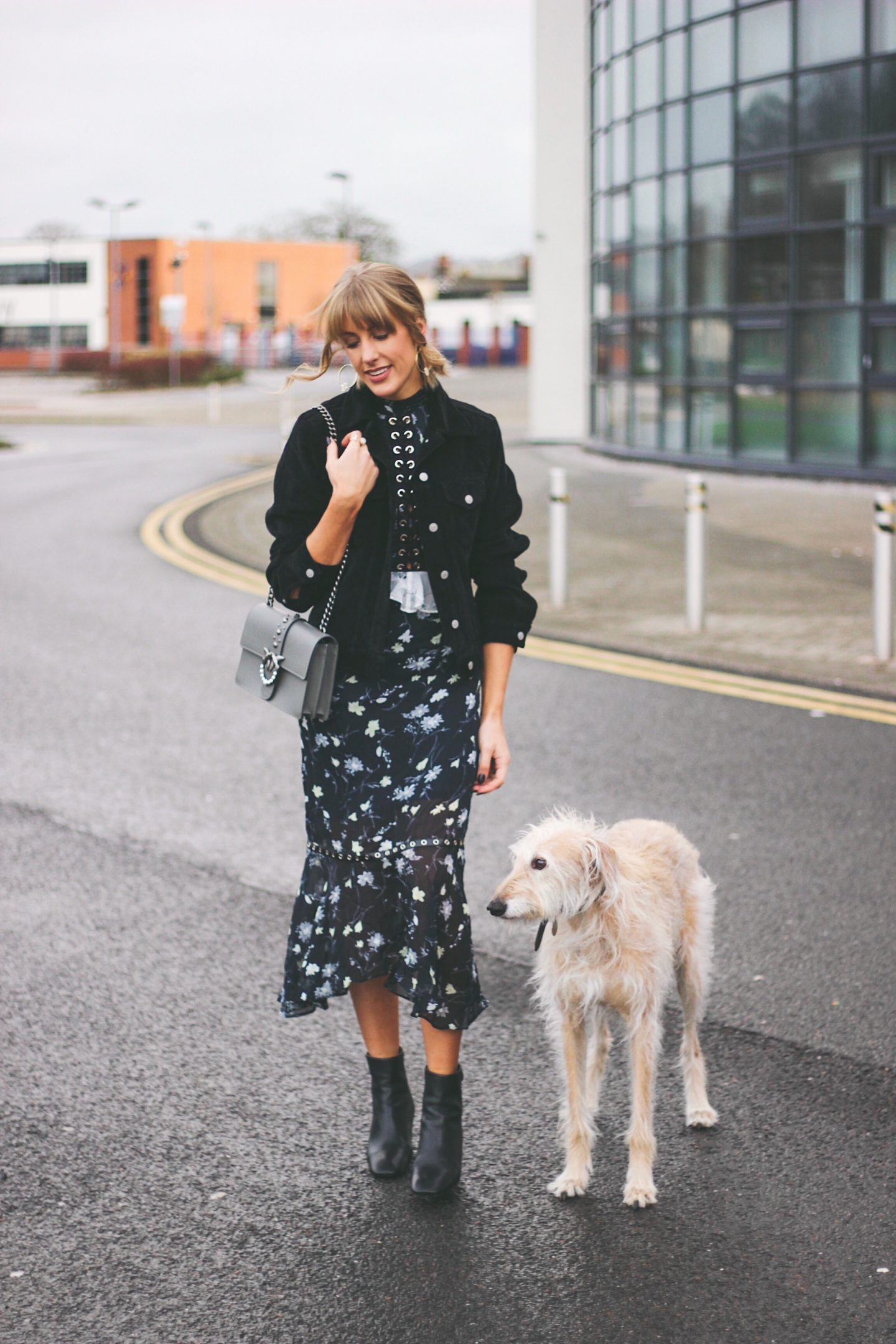 High Street Fashion Blogger Charlotte with her Lurcher Brody