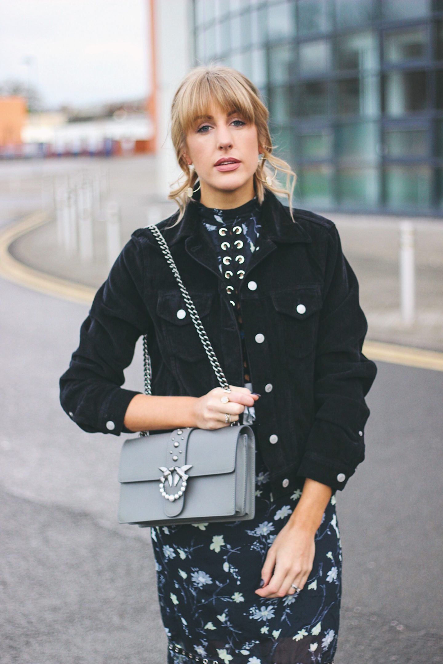 fashion blogger styling Pinko love bag with cords corduroy jacket