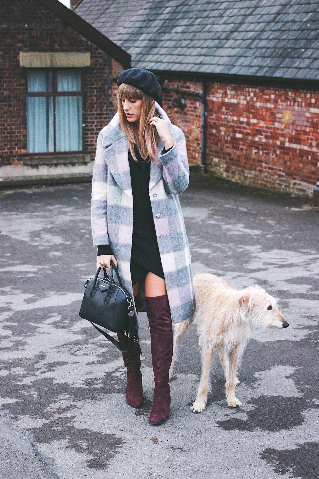 Blonde Lurcher Brody and fashion blogger Charlotte Buttrick from Manchester