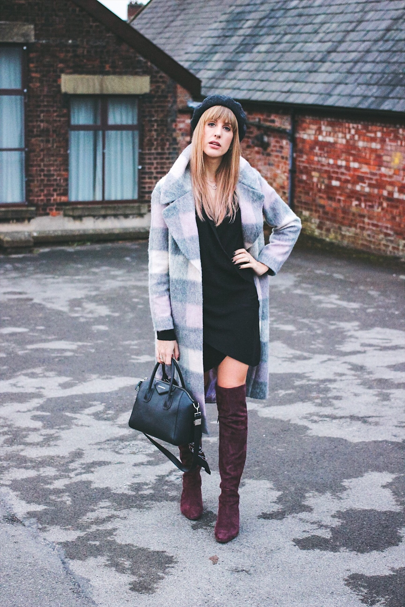 Checked coat and black dress outfit inspiration