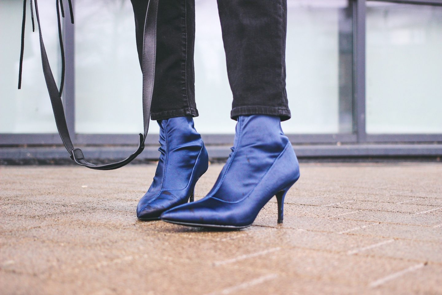 Navy satin ankle boots with kitten heel and pointed toe from Ego Footwear