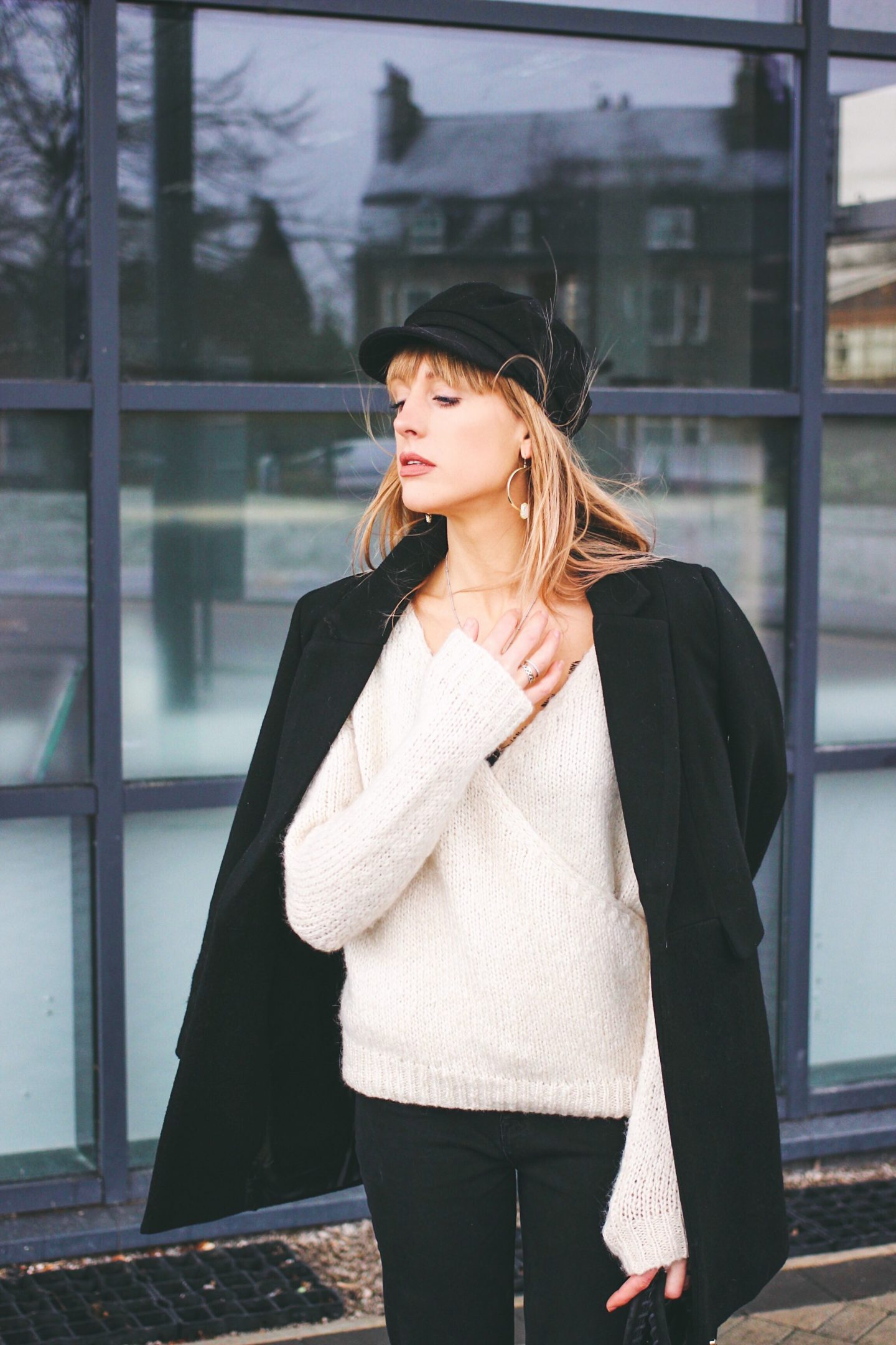 Topshop baker boy hat white wrap jumper and minimal outfit street style