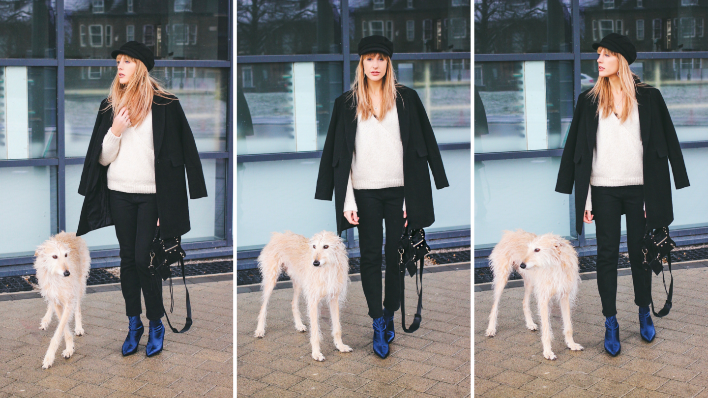 UK Fashion Blogger Charlotte Buttrick and her rescued lurcher Brody design