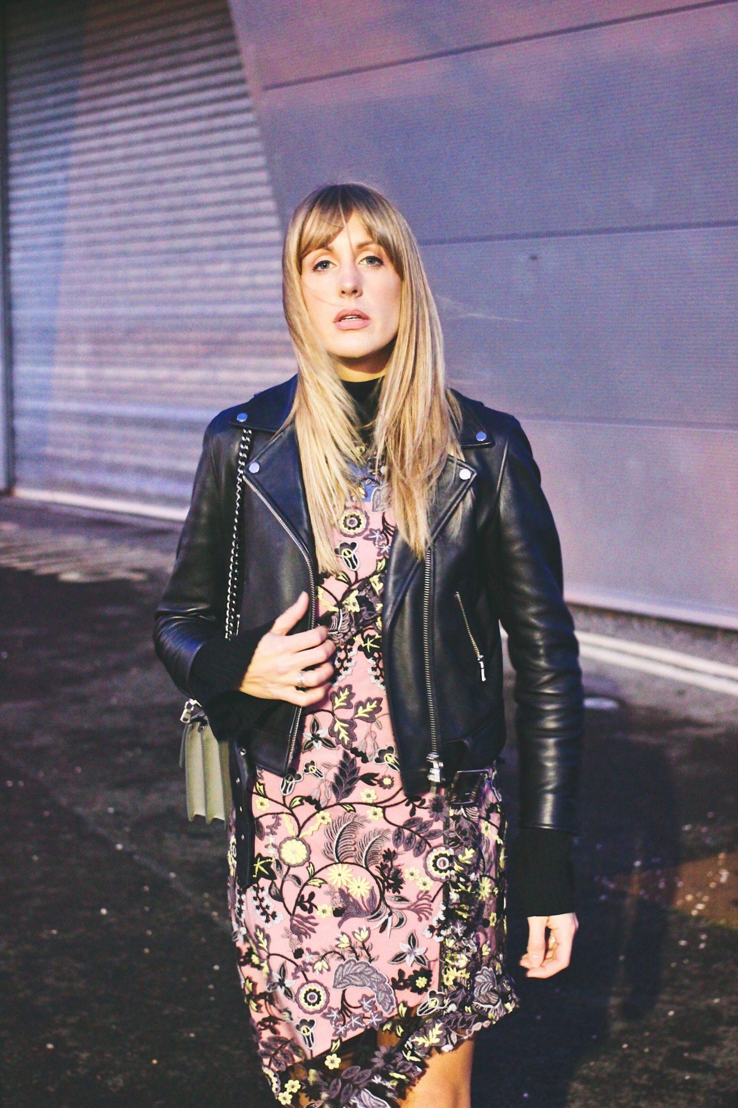 Fashion Blogger Charlotte Buttrick in Topshop leather biker jacket