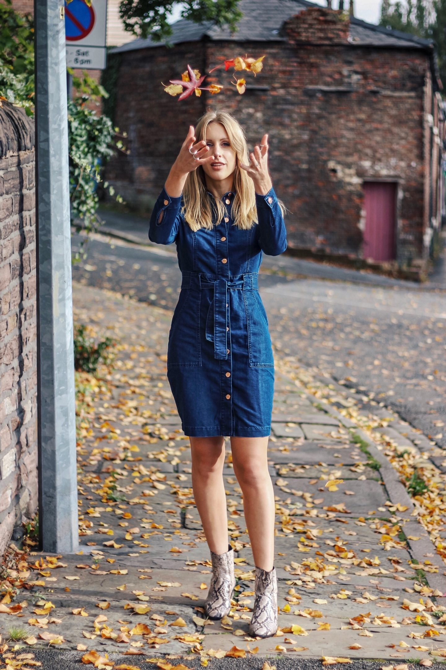 styling a denim dress for autumn